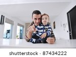portrait of a happy father and... | Shutterstock . vector #87434222
