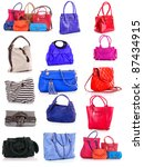 collage of colorful bags.... | Shutterstock . vector #87434915