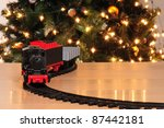 train with christmas tree in... | Shutterstock . vector #87442181
