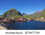 """Traditional fishing village """"A i Lofoten"""", Norway, in summer - stock photo"""