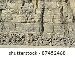abstract detail of a stone facade in a quarry - stock photo