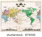 antique 1875 map of world | Shutterstock . vector #874530