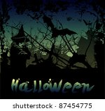 halloween background with witch ... | Shutterstock . vector #87454775