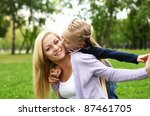 young mother playing with... | Shutterstock . vector #87461705