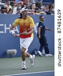 NEW YORK - SEPTEMBER 01: Malek Jaziri of Tunisia reacts during 2nd round match against Mardy Fish of USA at USTA Billie Jean King National Tennis Center on September 01, 2011 in NYC - stock photo