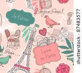 love in paris. seamless pattern | Shutterstock .eps vector #87483577
