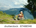 camping happy woman front of... | Shutterstock . vector #87488548