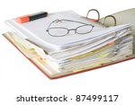 open file folder with spectacles and text marker - stock photo