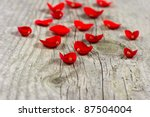 Wooden Background With Petals...