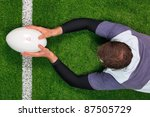 overhead photo of a rugby...   Shutterstock . vector #87505729