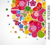 background with floral and... | Shutterstock . vector #87525283