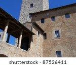 San Gimignano, medieval small town near Florence - stock photo