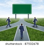 teamwork with blank road sign... | Shutterstock . vector #87532678