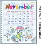 calendar for november 2012.... | Shutterstock .eps vector #87536167