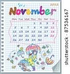 calendar for november 2012.... | Shutterstock .eps vector #87536167