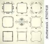 vector set of 9 calligraphic...   Shutterstock .eps vector #87537418