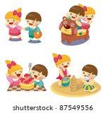 cartoon kids playing set | Shutterstock .eps vector #87549556