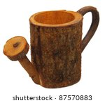 wood watering can isolated - stock photo