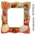 Sea shells frame isolated on white background - stock photo