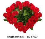 Heart-shaped red rose bouquet - stock photo