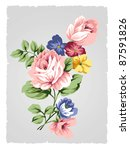 beautiful rose bouquet design... | Shutterstock . vector #87591826