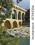 Roman aqueduct Pont du Gard, France. This bridge is an Unesco World Heritage site. - stock photo