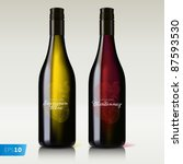 bottle of wine red and white... | Shutterstock .eps vector #87593530