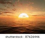 3d Cg Image Of The Sun Setting...