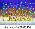 merry christmas written in gold ... | Shutterstock . vector #87629950
