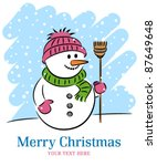 christmas card with a snowman | Shutterstock .eps vector #87649648