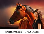Young Girl And Bay Horse On Th...