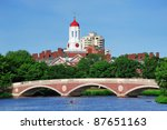Stock photo john w weeks bridge and clock tower over charles river in harvard university campus in boston with 87651163