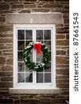 a green spruce christmas wreath ...   Shutterstock . vector #87661543