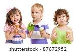 happy children with ice cream in studio isolated - stock photo