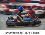 indoor carting race  cart and... | Shutterstock . vector #87675586