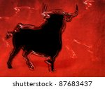 black fighting bull against red