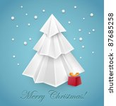 Christmas tree origami greeting card design - vector - stock vector