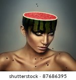 woman with watermelon head and grains - stock photo