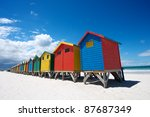bathing boxes on cape town beach | Shutterstock . vector #87687349