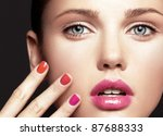 beautiful young model with... | Shutterstock . vector #87688333