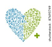 heart shape with medical icons... | Shutterstock .eps vector #87695749