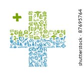 cross shape with medical icons... | Shutterstock .eps vector #87695764