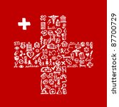 cross shape with medical icons... | Shutterstock .eps vector #87700729