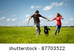 young happy family running with ... | Shutterstock . vector #87703522