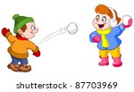 kids throwing snowballs at each ... | Shutterstock .eps vector #87703969