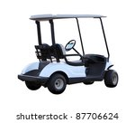 Golf cart golfcart isolated on white background - stock photo
