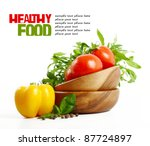 fresh healthy food isolated on... | Shutterstock . vector #87724897