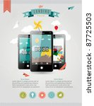 Vector Web Landing Page or Advertising Template with three touchscreen mobile phone devices and various icons - stock vector