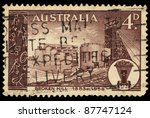 australia   circa 1958  a stamp ... | Shutterstock . vector #87747124