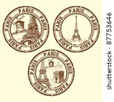 Grunge Rubber Stamp With Paris...